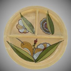 Large Vintage Mexican Pottery Divided Plate Dish Aloe Flowers Folk Art