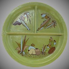 Large Vintage Mexican Pottery Divided Plate Dish Cactus Pot Sombrero Folk Art