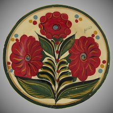 Large Vintage Mexican Hand Painted Wall Plate Plaque