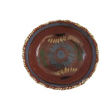 Vintage Mexican Folk Art Pottery Bowl 8 1/2""