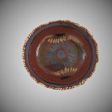 """Vintage Mexican Folk Art Pottery Bowl 8 1/2"""""""