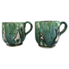 Two Vintage Small Mexican Pottery Drip Ware Cups Oaxaca