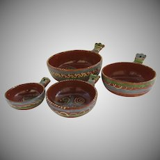 "Set of Four Vintage Nesting Tlaquepaque Mexican Pottery Casseroles ""Cazuela"""