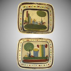 Set of Two Vintage Mexican Pottery Colorful Hand Painted
