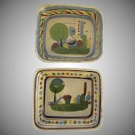 2 x Vintage Mexican Pottery Colorful Hand Painted Bowls