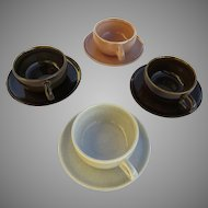 VTG Russel Wright Steubenville American Modern Four (4) Cups & Saucers Multicolor