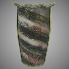 Tall Slab Pottery Vase by Jim Robinson