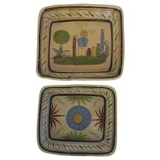 Vintage Mexican Pottery Colorful Hand Painted Bowls Dishes Set of Two