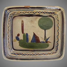 Vintage Hand Painted Mexican Pottery Bowl Dish