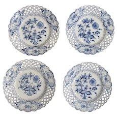 """4 x Vintage Blue Onion Meissen Reticulated 8"""" Plates Salad Dessert"""