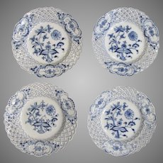 "4 x Vintage Blue Onion Meissen Reticulated 8"" Plates Salad Dessert"