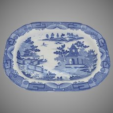 Large Blue and White Chinoiserie Platter by Davenport c1820