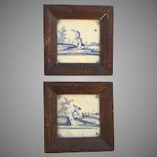 18th Century Delft Blue & White Faience Tiles Shepherd & Sheep Pair