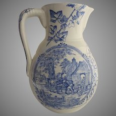 English Blue and White Transferware Large Pitcher