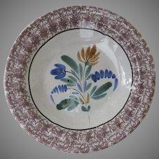 Vintage Older European Spongeware Shallow Bowl