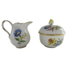 Vintage MEISSEN Blue Crossed Swords Fine Porcelain Floral Lidded Sugar Bowl  Sugar Bowl Rose Finial Gilt