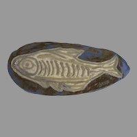 Signed Vintage Pottery Wall Plaque Trivet Fish