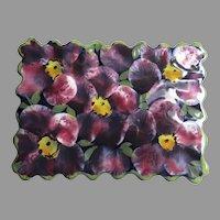 Vintage Porcelain Flower Glazed Lidded Box Signed Bottom