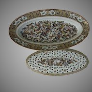 19th Century Fish Platter and Mazarine Chinese Export Thousand 1000 Butterflies