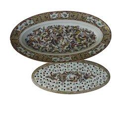 19th Century Fish Platter and Mazarine Chinese Export Thousand 1000 Butterflies