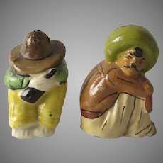 Vintage Mexican Pottery Salt and Pepper Men with Sombrero