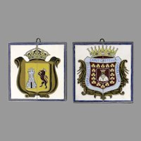 Pair of Vintage Large Metal Mounted Tiles Coat of Arms