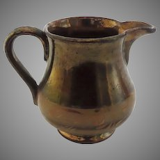 Small 19th Century English Copper Luster Cream Pitcher Band