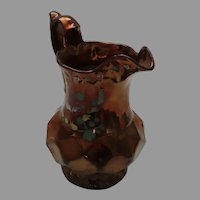 Vintage Copper Luster Pitcher with Painted Flower Embellishments