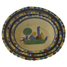 Set of Three Vintage Nesting Tlaquepaque Mexican Pottery Oval Bowls Sombrero Cactus