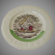 Mid 19th Century English Child's Alphabet Plate by Edge Malkin
