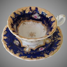 French Cup and Saucer in Bone China Fine Porcelain 19th Century
