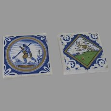 2 x Miniature Vintage Delft Tiles Dollhouse