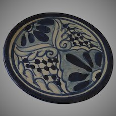 Vintage Blue and White Plate Wall Hanging Tlaquepaque Mexican Pottery