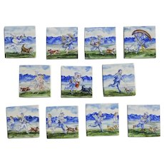 Set Series Hand Painted Tiles Signed Dated by Mark Steele Boston Dogs