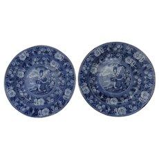 English Early 19th Century Blue and White Transferware Plates Charming Scene Pratt Superior Quality