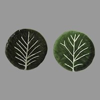 """Two (2) Vintage JF Olfaire Large Green Cabbage Plates Made in Portugal 11"""" Serving Plates"""