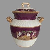 "Vintage Large Furnivals Ltd English 1890 Ironstone Covered Urn in ""Portland"" Pattern Classical Greek"