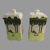 Vintage Ceramic European Tea Coffee Canisters Tree Motif