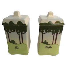 Vintage Ceramic European Tea Coffee Canisters Tree Motif