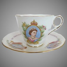 "Vintage Collectible Royal Stafford England "" The Coronation of Queen Elizabeth ll June 2nd 1953"" Cup and Saucer"