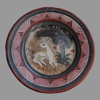 Vintage Mexican Tonala Pottery Plate Deer Fawn