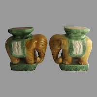 Pair of Chinese Vintage Pottery Glazed Elephant Bookends Figurines