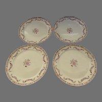 Set of Four (4) Vintage Derwood W. S. George Garland Floral Dinner Plates
