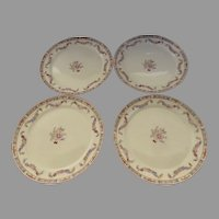 Set of Four (4) Vintage Derwood W. S. George Garland Floral Dinner Plates
