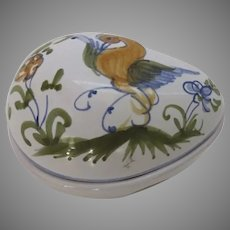 Vintage De Moustiers French Faience Egg Easter Box Trinket
