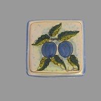Vintage Italian Terracotta Tile Vietri Hand Painted Plums Fruit Trivet Plaque Signed by Fratantoni