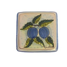 Vintage Italian Terracotta Tile Vietri Hand Painted Plums Fruit Trivet Plaque Signed by Fratantoni