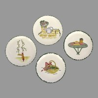 Set of 4 French Faience Plates by French and Pacific