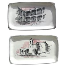 Pair Vintage Faience Majolica Scenes of Colonial Mexico Platters Trays