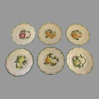 Set of Six Dinner Plates Handpainted for Gumps in Italy Fruit Themed Motif